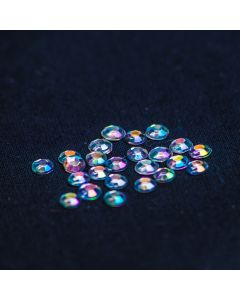 4mm Clear Iridescent Flat Back Rhinestones - 1000 pcs