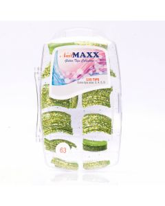 Glitzy Lime Green Glitter Acrylic Nail Tips 135pcs/box
