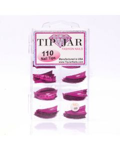 Short Stiletto Fuchsia Pink Glitter Acrylic Nail Tips 110pcs