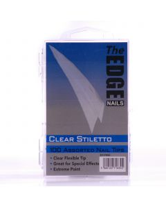 The Edge Clear Stiletto Nail tips - Box of 100 Assorted Tips