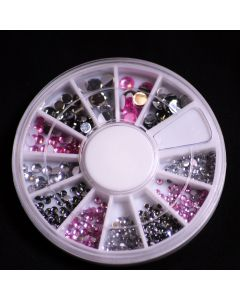 Wheel of Pink, Clear & Smoky Grey Gems  in 4 sizes