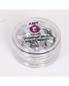 Amy G Nail Art Collection - Iridescent Silver Sequins 0.5g